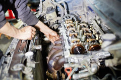 Hands servicing car engine Royalty Free Stock Photos