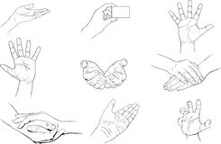 Hands set. Set of human hands in different positions and making different actions: hold, grab, showing a card, waving, checking Stock Illustration