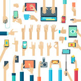 Hands set with gadgets. Stock Photo