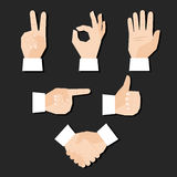 Hands set. Set of hands gestures vector illustration Royalty Free Stock Image