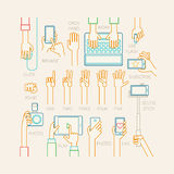 Hands set - line style. Royalty Free Stock Images