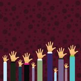 Hands of Several Businessmen Raising Up Above the Head Palm Facing Front. Creative Background Idea for Election Voting stock illustration