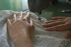 Hands sewing Stock Photos