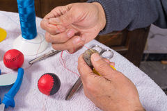Hands sewing Royalty Free Stock Photo