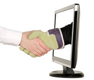 Hands shaking, LCD monitor Stock Image