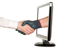 Hands shaking, LCD monitor Stock Photography