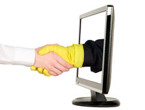Hands shaking, LCD monitor Stock Images
