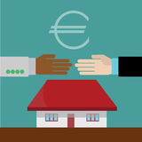 Hands shaking in real estate agreement. Illustration of hands shaking in real estate agreement Stock Images
