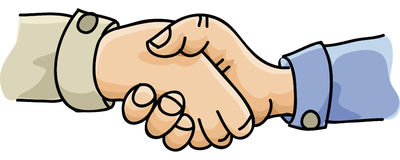 Hands Shaking. Two cartoon hands grip in a firm handshake vector illustration
