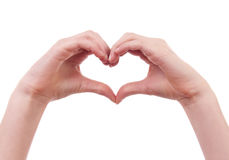 Hands in shape of heart Royalty Free Stock Images