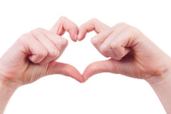 Hands in shape of hearts Royalty Free Stock Images