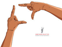 Hands shaped in viewfinder, African ethnicity, detailed vector i Royalty Free Stock Photos