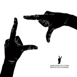 Hands shaped in viewfinder, detailed black and white vector illu Royalty Free Stock Photography