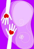 Hands Sharing Love Greeting Card. Hands reaching with heart and butterfly. Greeting or valentines card with copy space to write Royalty Free Stock Image