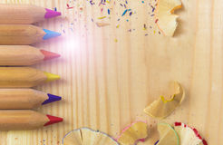 Hands sharpen a wooden pencil.  Stock Image
