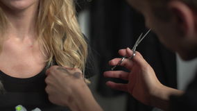 Hands shearing hair stock footage