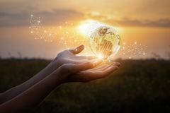 Hands show the global network . Stock Images