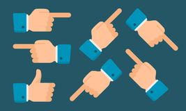 Hands Show Indicate in Different Directions. Vector illustration. Web Icon Stock Photos