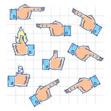 Hands show likes and point in different directions Royalty Free Stock Photo