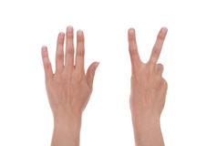 Hands show the number seven Royalty Free Stock Image