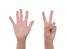Hands show the number seven Stock Photo
