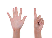Hands show the number six Royalty Free Stock Photo