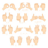 Hands show numbers and directions vector set Stock Photography