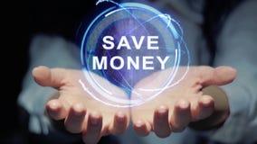 Hands show round hologram Save money royalty free illustration