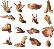 Hands show signs. Gesticulation. Royalty Free Stock Image