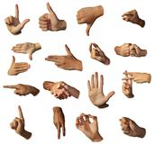 Hands show signs. Gesticulation. The different form of a hand royalty free stock photography