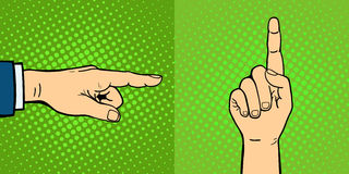Hands showing deaf-mute different gestures human arm hold communication and direction design fist touch pop art style Stock Images