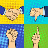 Hands showing deaf-mute different gestures human arm hold communication and direction design fist touch pop art style Royalty Free Stock Image