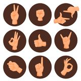 Hands deaf-mute gestures human pointing arm people gesturing communication message vector illustration. Hands showing deaf-mute gestures human pointing arm hold Stock Photography