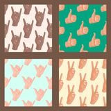 Hands deaf-mute seamless pattern background gestures human arm people communication message vector illustration. Hands showing deaf-mute seamless pattern Royalty Free Stock Images
