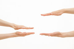 Hands showing different sizes - from small to big Royalty Free Stock Photos