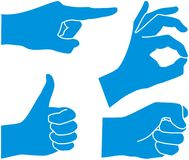 Hands showing gestures. Hands showing four emotional gestures Royalty Free Stock Photo