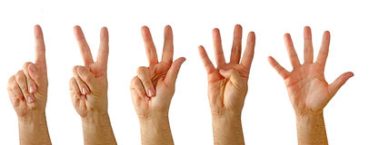 Hands Showing Numbers Stock Photos