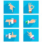 Hands showing symbolic icons. Set creative hands in different colors made into a flat style. Hands show different gestures. Vector illustration Royalty Free Stock Images