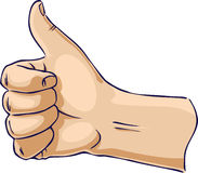 Hands showing thumb up from side Stock Photos