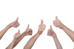 Hands showing thumbs raised Stock Photo