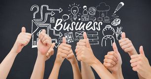 Hands showing thumbs up with business text surrounded by icon Royalty Free Stock Photo