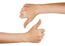 Hands showing thumbs up and down (isolated on white backgr Royalty Free Stock Photography