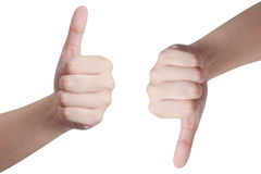 Hands showing thumbs up and down Royalty Free Stock Images