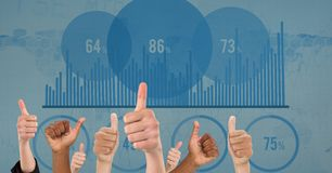 Hands showing thumbs up with graph and numbers in background Royalty Free Stock Photos