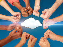 Hands showing thumbs up over cloud icon Stock Photos