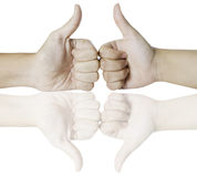Hands showing thumbs up sign Stock Images
