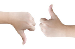 Hands shows like and dislike, on white Background Royalty Free Stock Photos