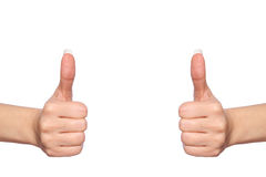 Hands shows thumbs up, isolated on white Stock Image