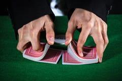 hands shuffling cards casino Royalty Free Stock Photos