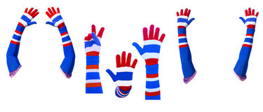 Hands sign with colorful glove Royalty Free Stock Photo